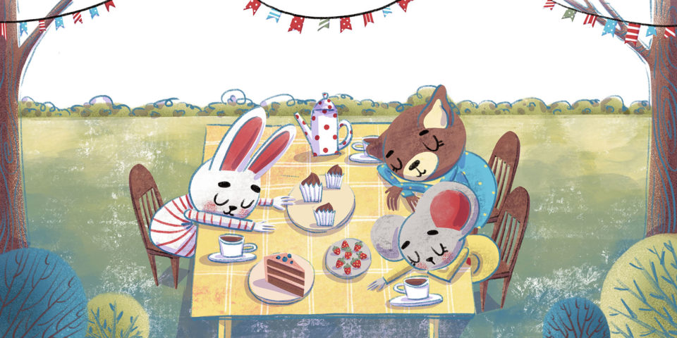 Animals on a picnic in the forest. Xenia Voronicheva illustration