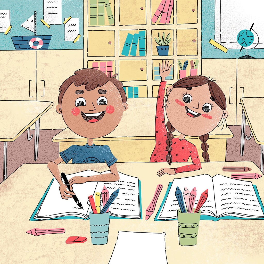 Boy and girl in the classroom. Xenia Voronicheva illustration