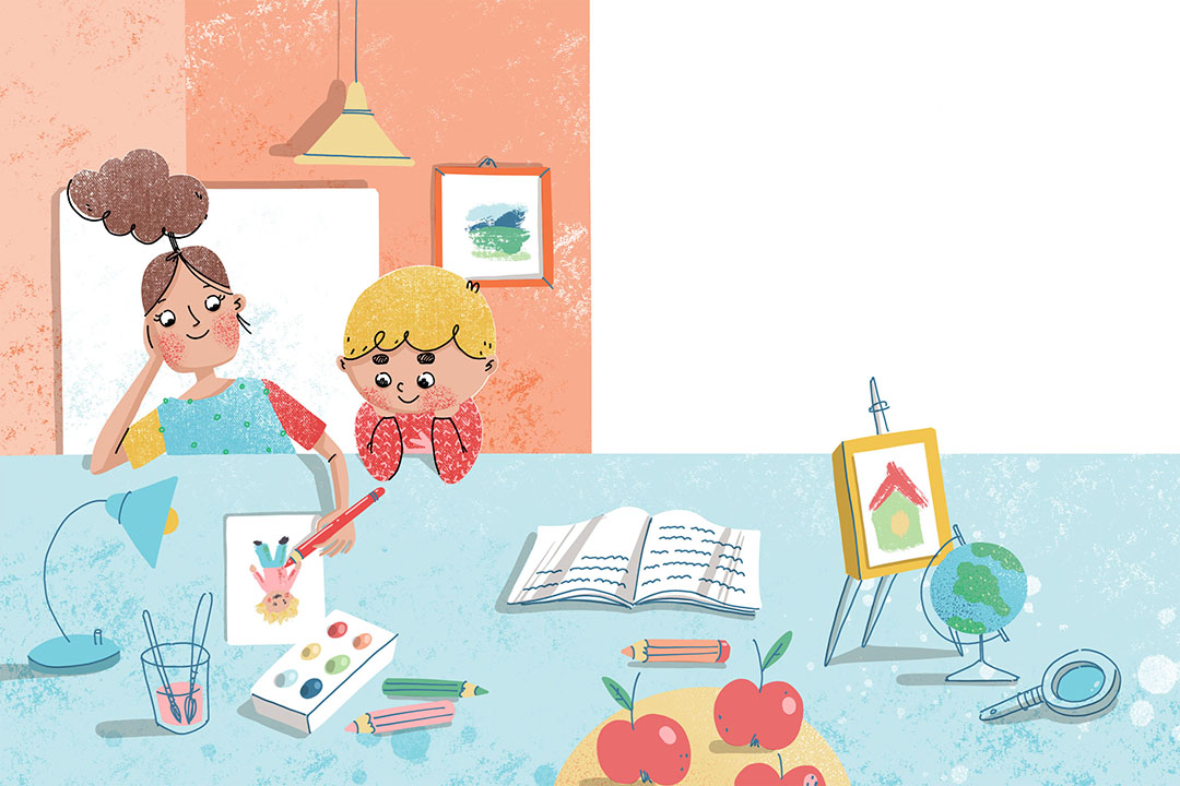 Boy and girl are drawing at the table. Xenia Voronicheva illustration