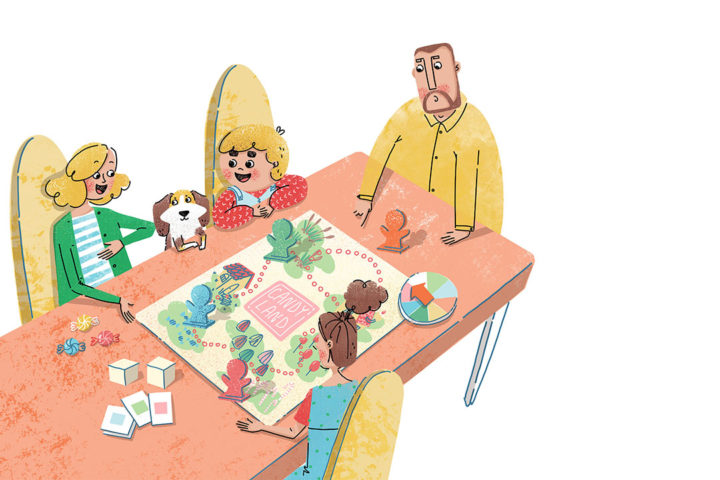 Xenia Voronicheva illustration. The family is playing a board game.
