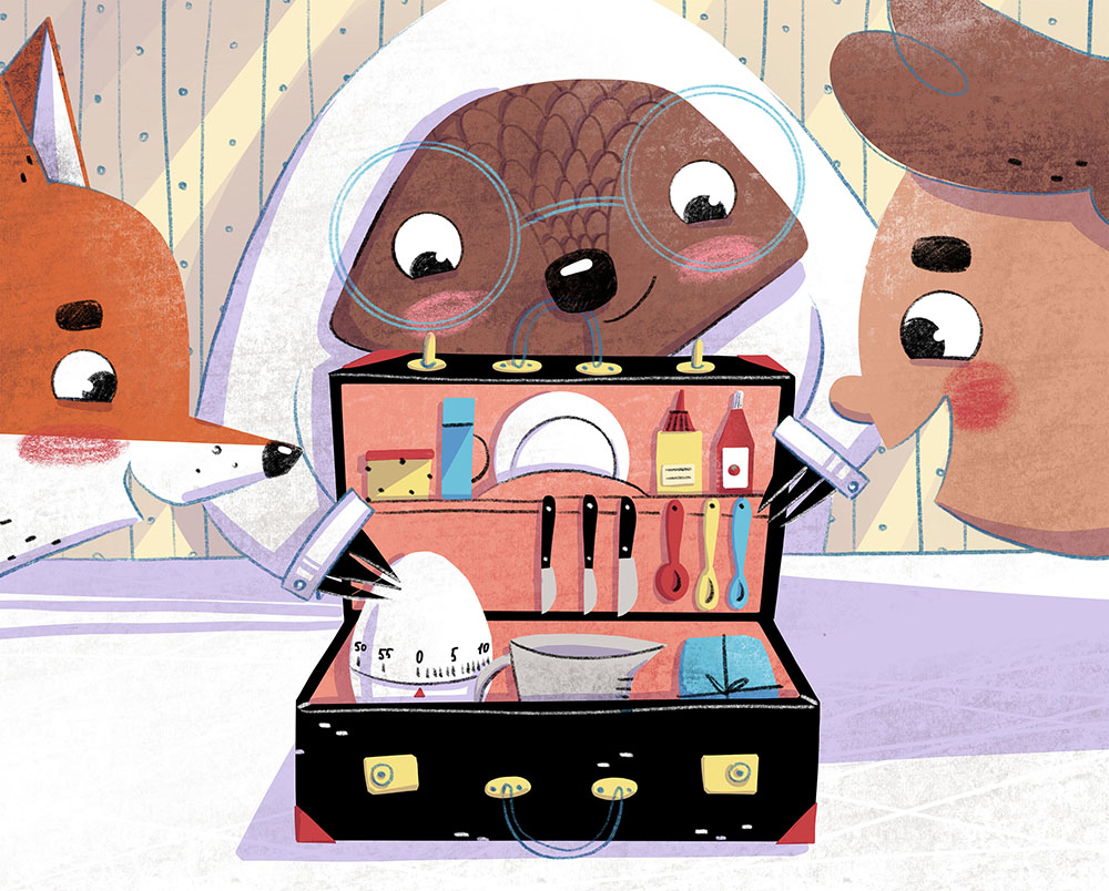 Boy, fox and pangolin look into a suitcase. Xenia Voronicheva illustration