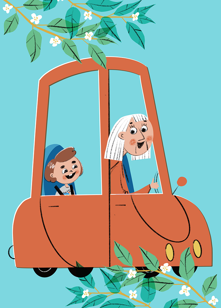 Grandma and grandson are driving. Xenia Voronicheva illustration