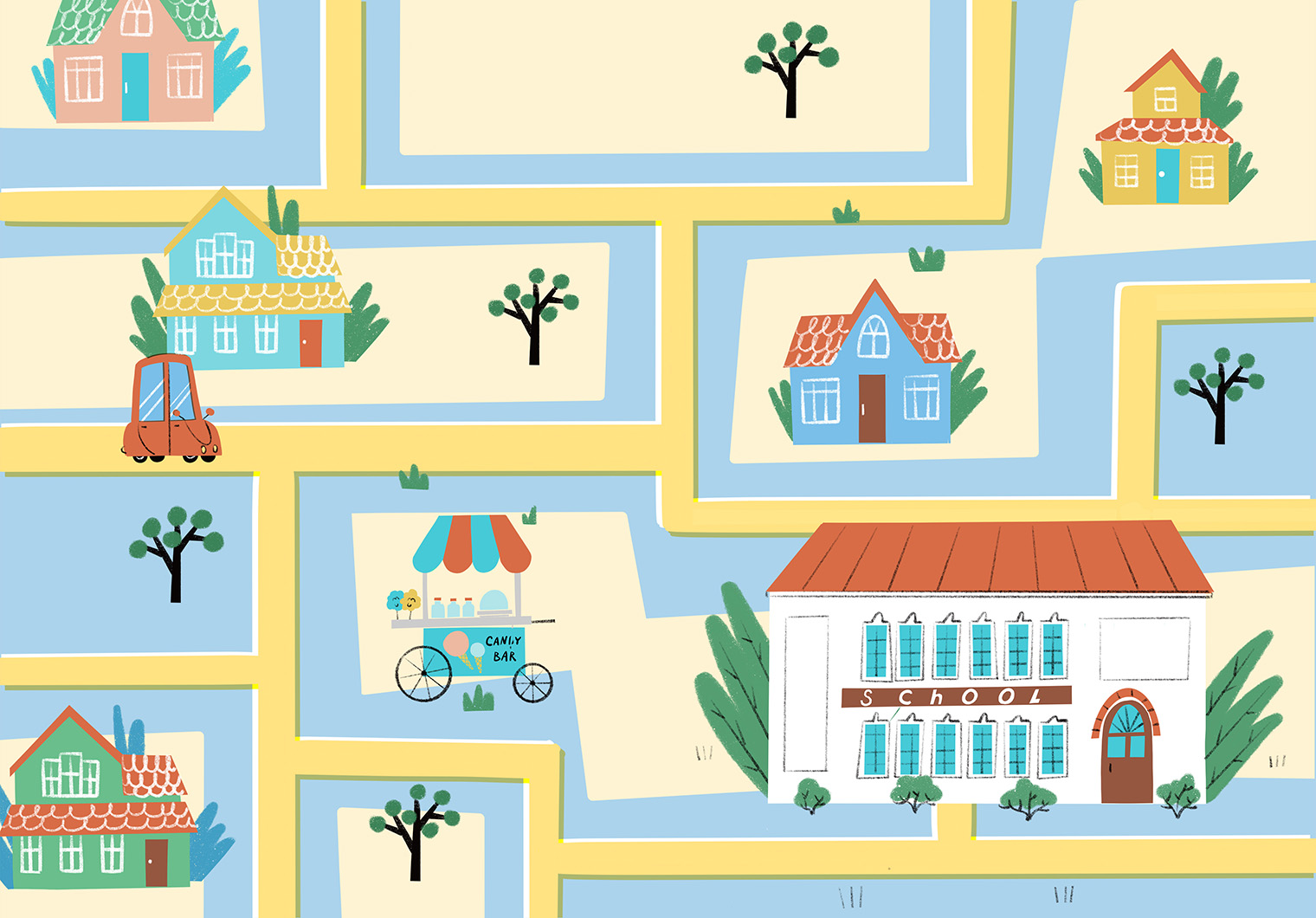 Small town map. Xenia Voronicheva illustration