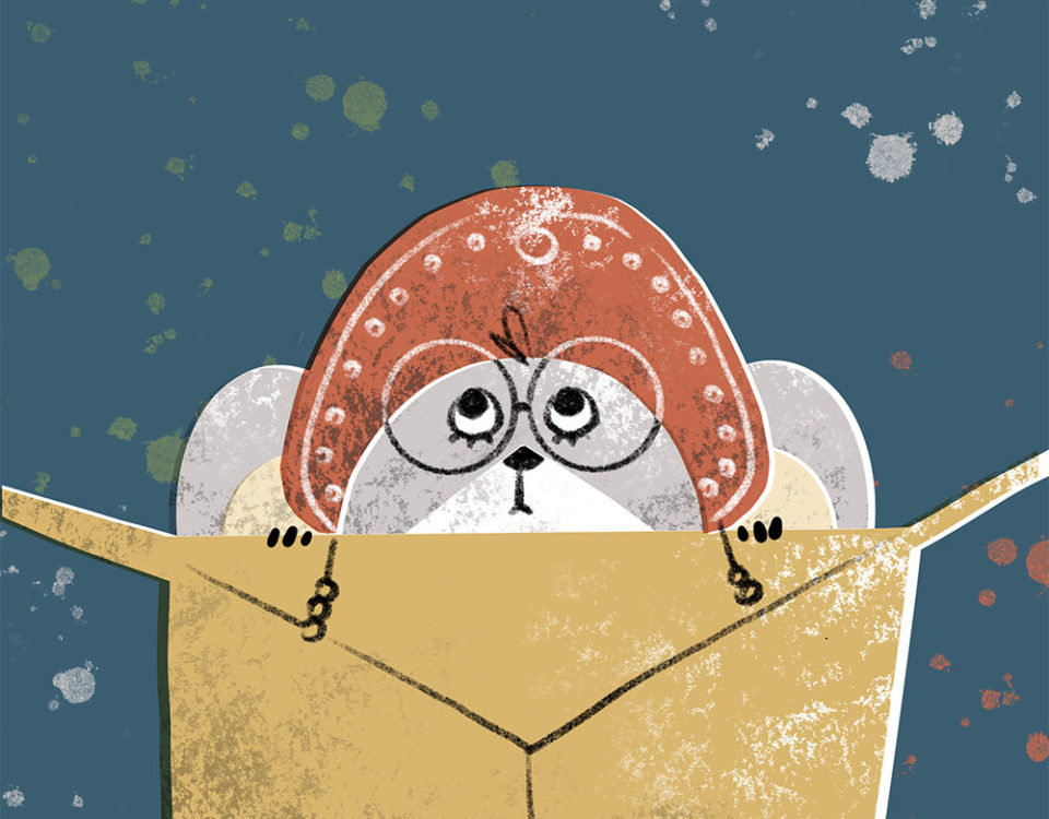 a mouse in a kokoshnik looks out of a gift box. Xenia Voronicheva illustration