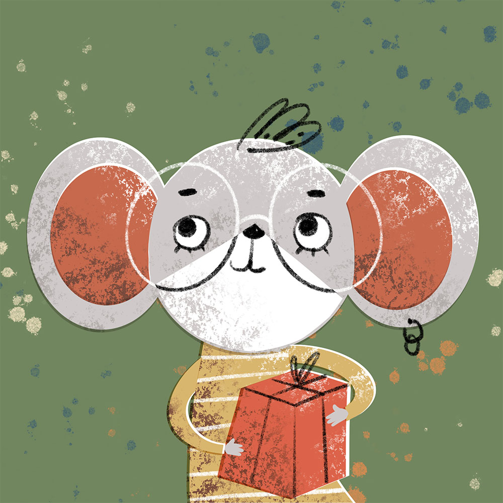 Mouse holding a gift box. Xenia Voronicheva illustration