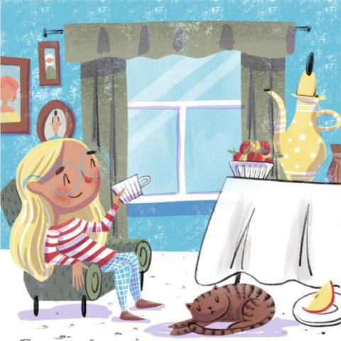 Girl sits in a chair and drinks tea. Xenia Voronicheva illustration