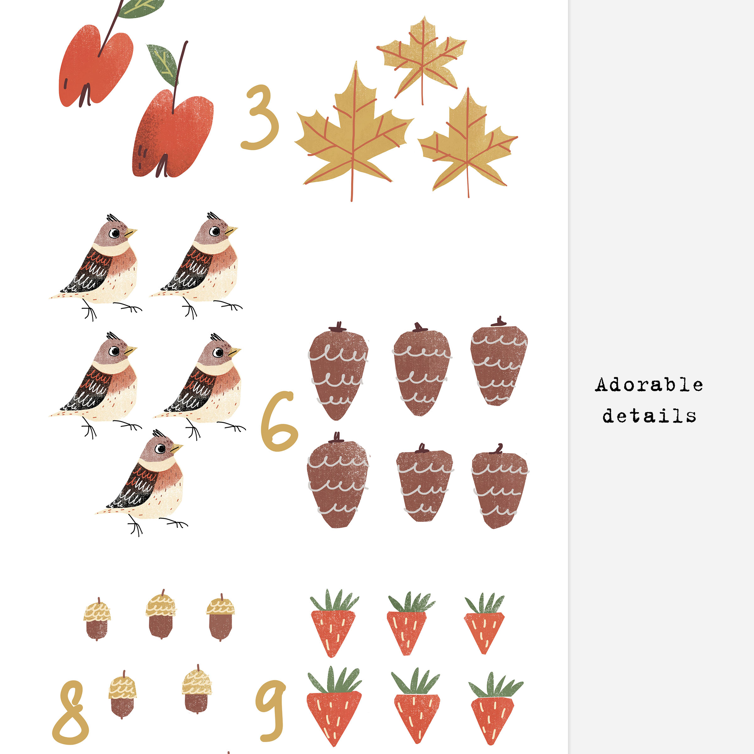 Educational numbers poster. Xenia Voronicheva illustration