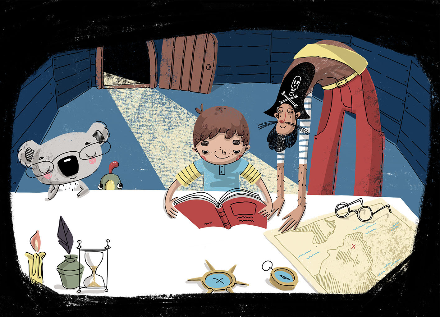Boy and pirate reading a book. Xenia Voronicheva illustration